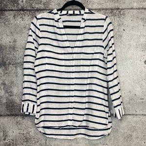 Zara // Striped Linen Button Down Blouse